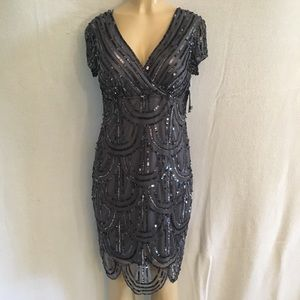Marina Gray Sequin Dress 12 Formal Prom Cocktail